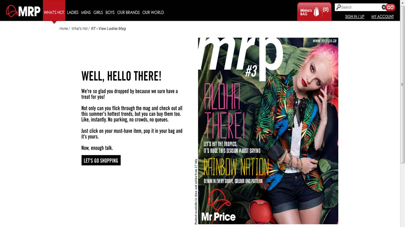 Mr price clothing online shopping