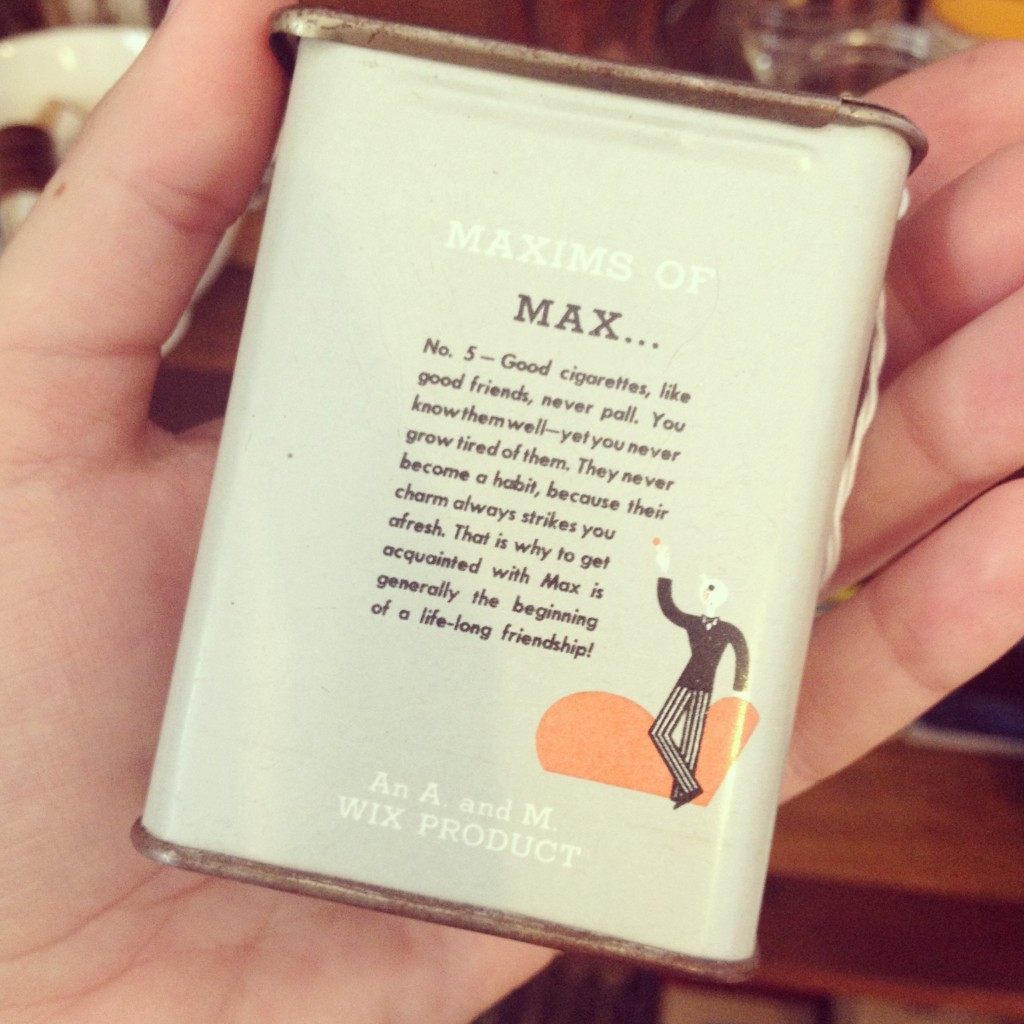 The back of a vintage cigarette tin, found in the Darling Museum