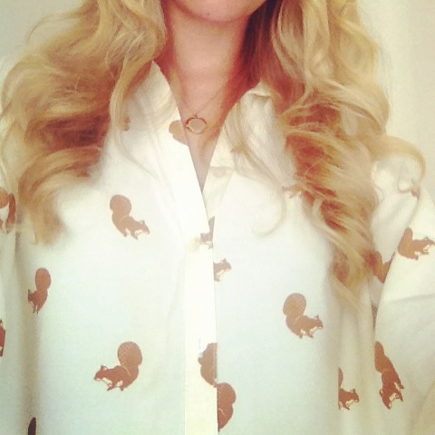 My gorgeous ASOS squirrel shirt from Amanda
