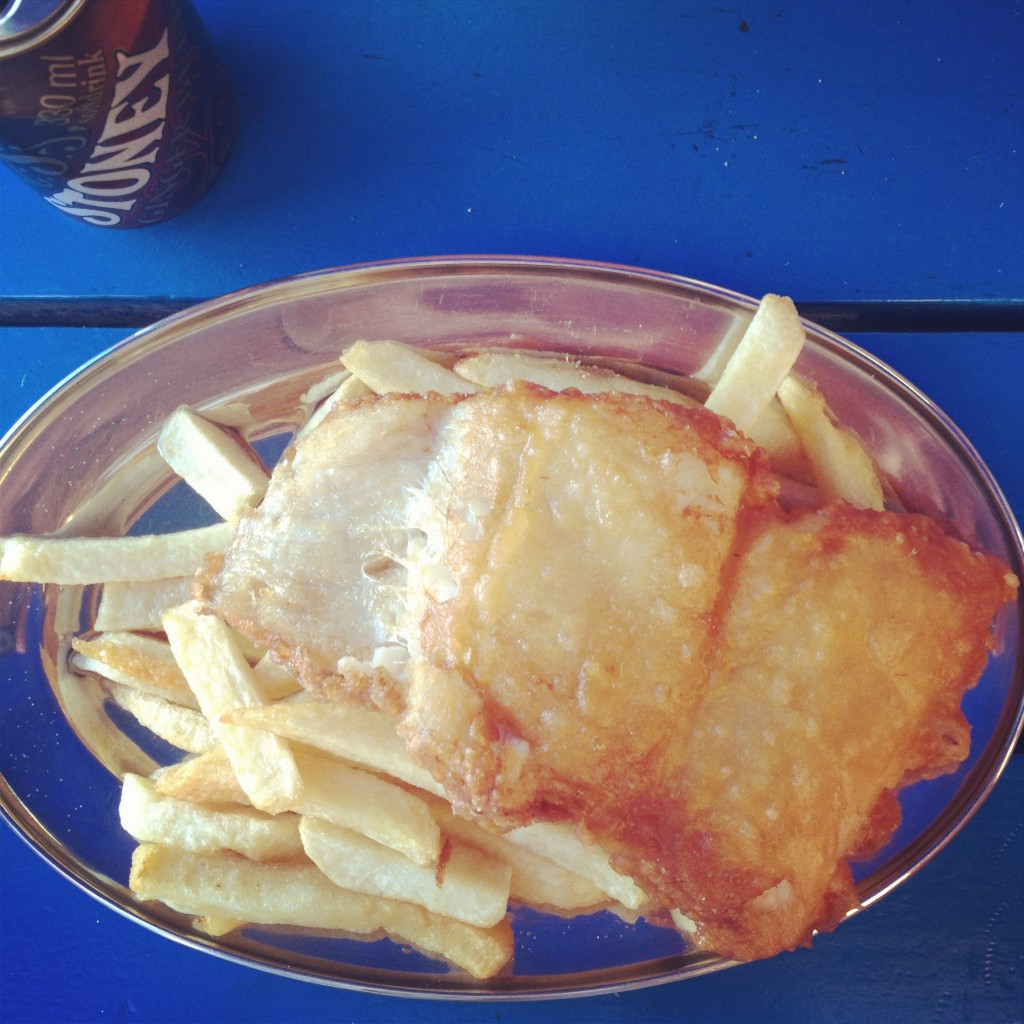 Fresh fish and chips and a Stoney from Kalky's in Kalk Bay. What dreams are made of.