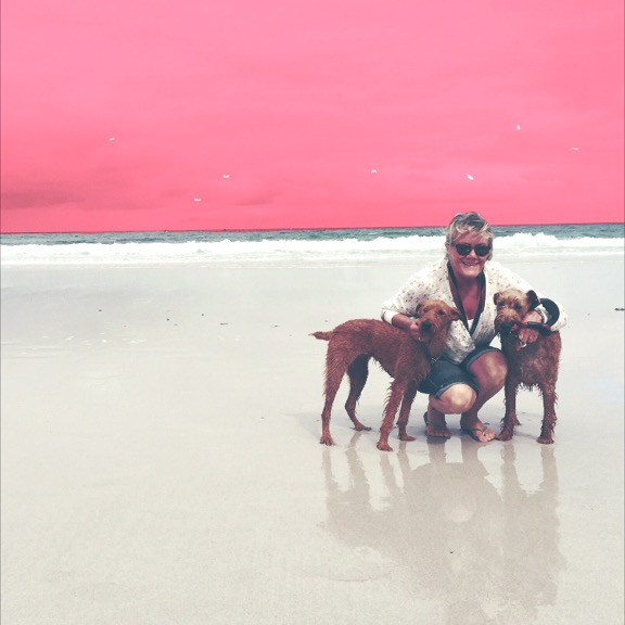 My mama, her Irish terriers and cotton-candy skies