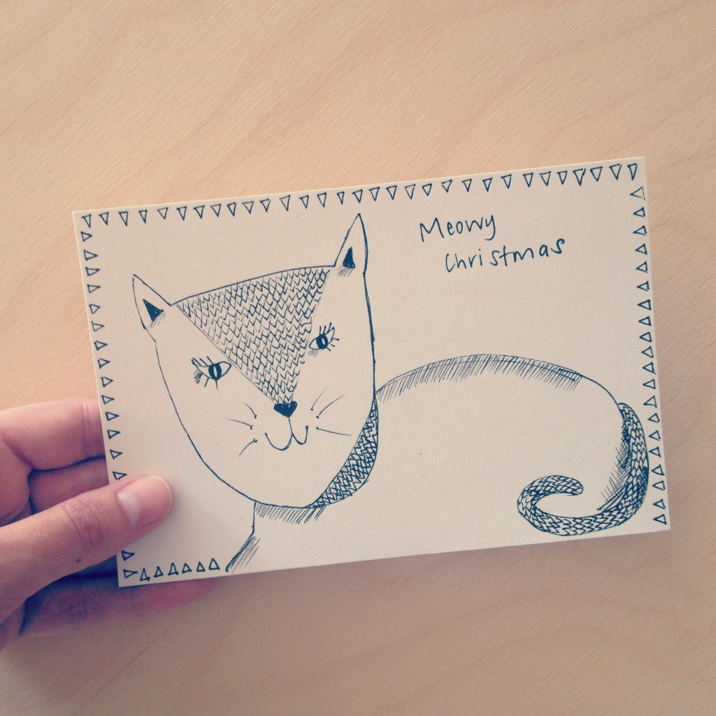 My homemade Meowy Christmas card from Nat